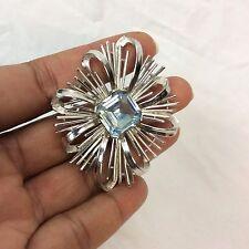 Beautiful Vtg Crown Trifari Modernist Blue Rhinestone Silver tone pin brooch