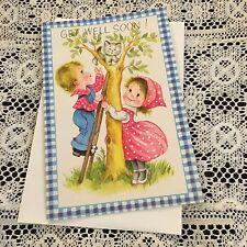 Vintage Greeting Card Get Well Cute Kids Cat In Tree
