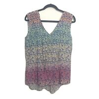 New Maeve Anthropologie Floral Tank Top Women's Boho Blouse Color Block Small