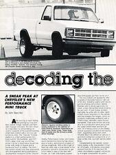 1986 1987 Dodge Dakota Truck Original Car Review Print Article J508