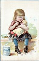 1888 Eagle Condensed Milk Girl Feeding Antique Doll Art Victorian Card 1870s-80s