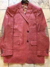 NWT INSERCH Mens Burgundy blazer jacket sport coat Linen Mix modern 2Bt.Size 2XL