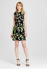Victoria Beckham x Target Size Small Black English Satin Floral Sheath Dress NEW