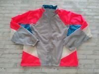VTG 80s Nike Men's Full Zip Foldaway Hood Multicolor Neon Windbreaker Jacket XL