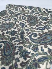 """Paisley Floral Cotton Curtain Panel Green White Long 41"""" x  83"""" J"""