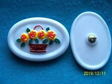 CZECH  GLASS BUTTONS (2 PCS) 40mmX25mm  FLOWER BASKET  COLLECTABLE  ** C 035
