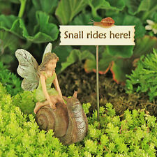 Fairy Riding Giant Snail and Handmade Sign ~ Fairy Garden  ~ Magical by Jennifer