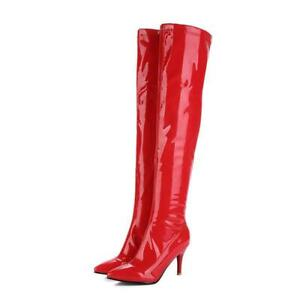 Women Pointed Toe Winter Shoes High Heels Zipper Patent Leather Over Knee Boot D