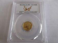 2016-W  Winged Liberty Head (Mercury Dime), Gold ,PCGS ,100th Anniversary , SP70