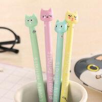 6Pcs Cute Kawaii Funny Cartoon Cat Lot Novelty pens Stationery Gel Ink Pen new