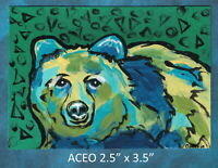 Original ACEO - Grizzly Bear - miniature acrylic painting, not framed