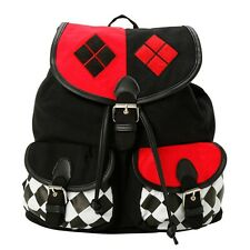 Official Batman Harley Quinn Design Cotton Rucksack Backpack Bag - DC Comics New