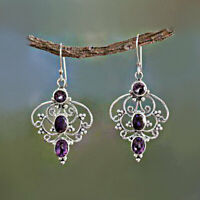 Vintage 925 Silver Jewelry Amethyst Earrings Ear Stud Women Wedding Earring Gift