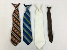 Vintage Ties Boys Young Men Clip On Lot of 4 Blue Brown Cream Maroon