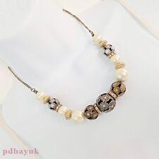 "Antique Gold Tone Filigree & White Pearl Bead Choker Necklace 43cm 17"" UK ~1766"