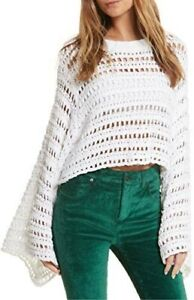 Free People White Caught Up Crochet jumper new  Size small 10/12