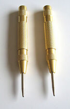 2 CALHAWK BRASS AUTOMATIC SPRING LOADED CENTER PUNCH PUNCHES