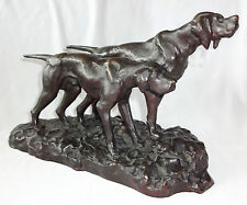"""1930s JAPANESE BRONZE SCULPTURE """"PAIR of HUNTING DOGS"""" sign HIDEAKI (Ree)"""