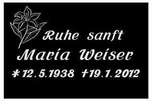 Grabmal, Grabsteine,Liegestein mit Lilie, schwarzer Granit oder Multicolor.