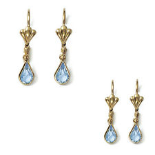 Paire de Boucles d'oreilles Gouttes d'eau Plaqué Or et Cristal bleu