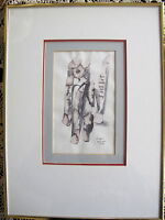 """Fine Art Original Ink Wash Painting """"Road Too Long"""" by Amar Nath Sehgal Signed"""
