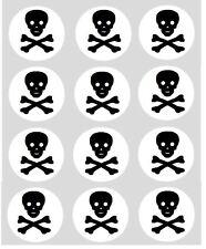 12 Skull & Crossbones Cupcake Decoration Edible Cake Toppers Precut 40mm Pirate