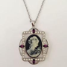 New Vintage Style Lady Cameo Lavender Black Charm Pendant Charm Necklace NE1394