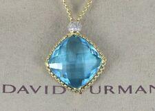 David Yurman On Point 18K Yellow Gold Diamond Blue Topaz Pendant Necklace