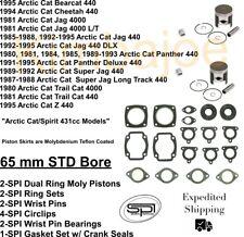2 SPI Piston Kits 1995-1998//2000-2002 Arctic Cat Z440 Z 440 Standard Bore 65mm