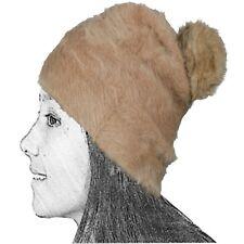 Gorro De Punto Mujer Marron Camel Lana Conejo 50 Angora Largo Pompón Bola  Pelo L d7361b42a13
