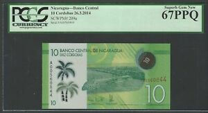 Nicaragua 10 Cordobas 26-3-2014 P209a Uncirculated Graded 67