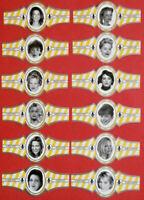 "ACTRESSES & MODELS: FULL SET of 12 CIGAR bands - from ""ROYAL FLUSH"" cigars"