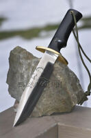CUSTOM HANDMADE D2 STEEL TACTICAL FIGHTING HUNTING KNIFE WITH LEATHER SHEATH