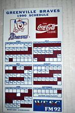 1990 GREENVILLE BRAVES MINOR LEAGUE BASEBALL SCHEDULE MAGNET COCA-COLA WESC FM