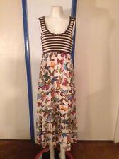 Tory Burch Silk Cashmere Maxi Dress 2 Butterfly Brown Stripes beautiful Tunic XS
