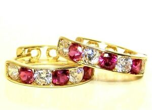 9CT GOLD EARRINGS DIAMOND RUBY HOOP 9 CARAT YELLOW GOLD SMALL