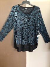 ec4bab4902 Womans Vera Wang Knit Top Size 2x Hi-lo Hem Blue Flocked Stretch