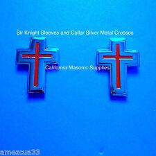 sleeves and collar Sir Knight Templar Silver Crosses {one pair} York Rite Masons