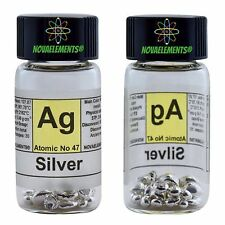 Silver metal element 47 shiny pellets 5 grams 99,99% in labeled glass vial