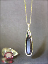 14k yellow gold necklace with dark red Garnet. Unique handmade, free shipping