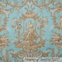 BonEful Fabric FQ Cotton Quilt Blue Brown Tan Victorian Damask Shabby Chic Angel