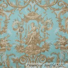 BonEful Fabric FQ Cotton Quilt Blue Brown Tan Victorian Damask Shabby Chic Angel