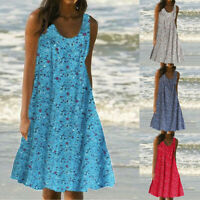 Women Ladies Casual Print Sleeveless Loose Plus Size Beach Summer Maxi Dress