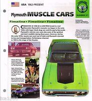 Plymouth MUSCLE CARS History Brochure: 440,HEMI Cuda,SUPERBIRD,AAR,426,GTX,Wedge
