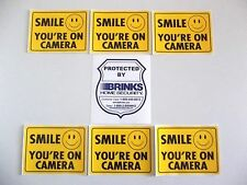 Brinks Adt Home Security System+Smile Video Cameras In Use Warning Sticker Signs
