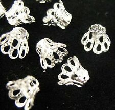 300 Silver Plated Filigree Bell Bead Caps 6mm E605SP
