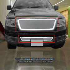 For 04-05 Ford F-150 F150 Stainless Steel Mesh Grille Grill 2 Pcs Combo Fedar