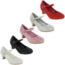 Diamante Purpurina Zapatos Fiesta Bodas Dama de Honor Infantil Mary Jane Bajo
