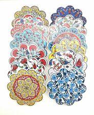 Anatolian Design Floral Pattern Flower Shape Iznik Ceramic Coaster