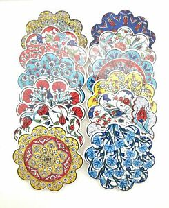 Handmade Ceramic Coaster - Anatolian Design Turkish Pottery